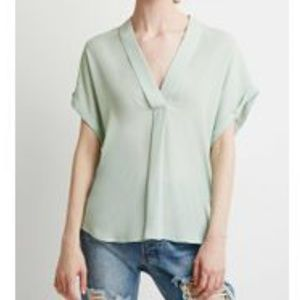 Forever 21 Contemporary V-Neck Shawl Collar Blouse